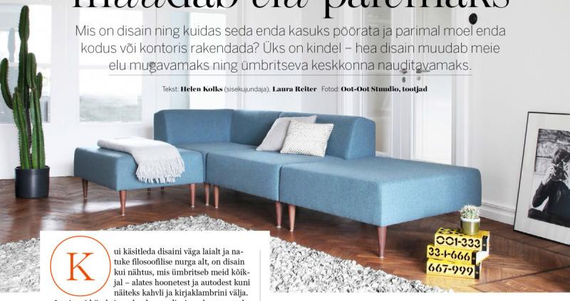 Advertisement where Oot-Oot Studio furniture blue modular sofa is used. Eesti disaini artikkel Kaubamaja ajakirjas Hooaeg, kus on kasutatud Oot-Oot Stuudio mööblit mooduldiivan.