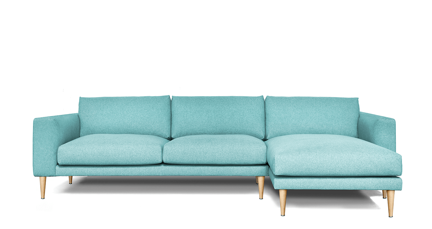 L Shaped Sofa MONEE, Chaise Lounge on Right - Oot-Oot Studio